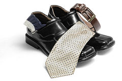 shoes, tie, socks and belts Royalty Free Stock Image