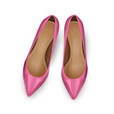Shoes Top View. Pink vector female shoes over white. Top view Royalty Free Stock Photos