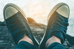 Shoes of tourists. Shoes of tourists close up Stock Photography
