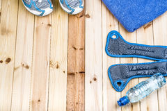 Shoes, Towel, Wrist Weights And Water. Stock Photography