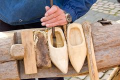Shoes Traditional skill of making Dutch Stock Images
