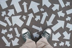 Shoes, trainers - direction concept royalty free stock images