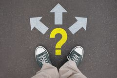 Shoes, trainers - three arrows, question mark stock images