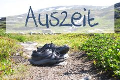 Shoes On Trekking Path, Auszeit Means Downtime Stock Photo