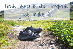 Shoes On Trekking Path, First Step Hardest Just Make It royalty free stock photo