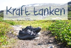 Shoes On Trekking Path, Kraft Tanken Means Relax Royalty Free Stock Photography