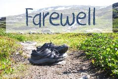 Shoes On Trekking Path, Text Farewell royalty free stock image