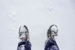 Shoes under snow with text place. Royalty Free Stock Images