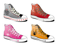 Shoes with various symbol Royalty Free Stock Photography