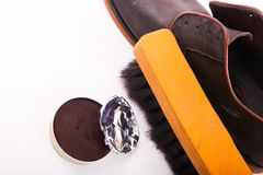Shoes Varnish. Shoe varnish with polishing brush Royalty Free Stock Photos