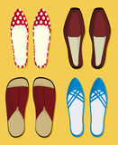 Shoes (vector). Four pair of shoes (vector).Man and woman shoes stock illustration