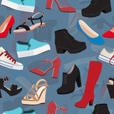 Shoes vector background, seamless pattern. Multicolored sandals, boots, low shoe, ballet slippers, high boot, gumshoes Stock Image