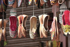 Shoes. Village Shop for shoe for buyers . Colourful shoes. Rajasthani shoes Stock Images