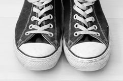 Sneakers. Vintage looking basket shoes, in black and white Stock Images