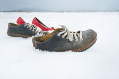 Shoes Walking. Men and ladies shoes walking on snow without people, concept of beyond belief Stock Image