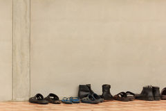 Shoes with Wall Royalty Free Stock Photography