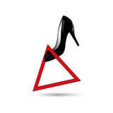 Shoes in the warning sign vector illustration.  Royalty Free Stock Photos
