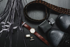 Shoes with watch and cuff. Men`s accessories. Shoes with watch and cuff Royalty Free Stock Photos