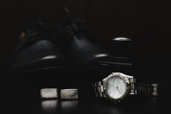 Shoes with watch and perfume. Mans accessories. Shoes with watch and perfume Stock Photo