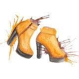 Shoes watercolor illustration Stock Images