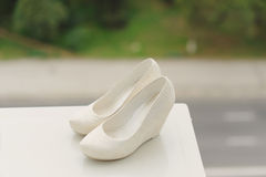 Shoes on White Stand Stock Photography