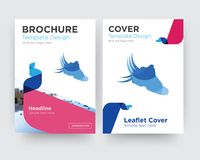 Shoes with wings brochure flyer design template. With abstract photo background, minimalist trend business corporate roll up or annual report Royalty Free Stock Images
