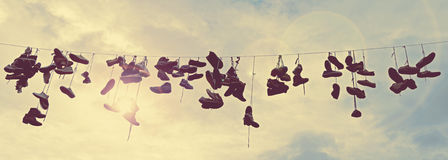 Shoes on wire Royalty Free Stock Image