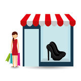 Shoes woman buys gifts. Vector illustration eps 10 Stock Photo