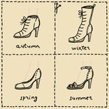 Shoes. Woman seasonal shoes doodle set Royalty Free Stock Photo