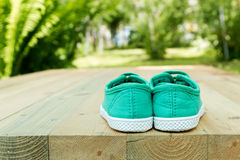 Shoes  on a wooden floor. Stock Photo