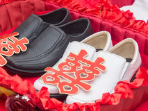 Shoes with Xuangxi Chinese Character Royalty Free Stock Image