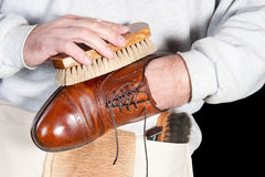 Shoeshine man Royalty Free Stock Images