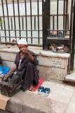 Shoeshiner som dricker te och katter som äter i bakgrunden i ett s royaltyfria bilder