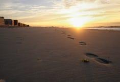 Shoesteps nella sabbia Immagine Stock