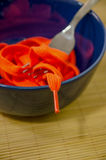 Shoestring to eat. A bowl plenty of shoestrings to eat. Disgusting meal and impossible food concept Stock Photos