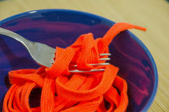 Shoestrings to eat Stock Photo