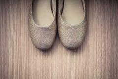 ShoesWomens-Schuhe auf einem hölzernen Hintergrund Stockbilder