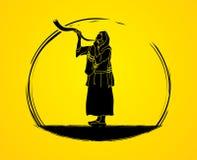 Shofar που φυσά το γραφικό διάνυσμα Στοκ Εικόνες