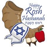 Shofar, Apple, Rol en Stof voor Joodse Nieuwjaarviering, Vectorillustratie stock illustratie