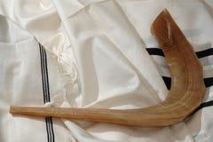 Shofar auf Tallit Lizenzfreies Stockfoto