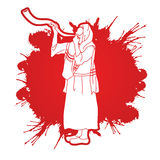 Shofar blowing graphic vector. Royalty Free Stock Photo