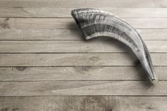 Ram`s Shofar Horn. The Shofar is a Hollowed Ram`s Horn Used to Call People to Rependance stock image
