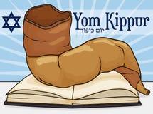 Shofar Horn over Sacred Book for Jewish Yom Kippur, Vector Illustration. Poster with traditional Shofar horn over sacred book to celebrate Jewish Yom Kippur -or Stock Image