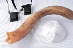 Shofar (horn) with Tefillin and Yamaka Stock Photo