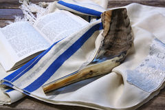 Shofar (horn) on white prayer talit. room for text. rosh hashanah (jewish holiday) concept . traditional holiday symbol. Stock Photo