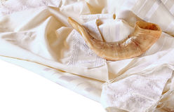 Shofar (horn) on white prayer talit. rosh hashanah (jewish holiday) concept . traditional holiday symbol. Shofar (horn) on white prayer talit. rosh hashanah ( Stock Images