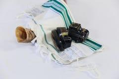 Shofar horn on white prayer talit. rosh hashanah Royalty Free Stock Images