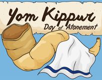 Shofar Horn with White Tallit and Scroll for Yom Kippur, Vector Illustration Royalty Free Stock Image
