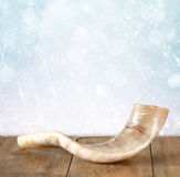 Shofar (horn) on wooden table. rosh hashanah (jewish holiday) concept . traditional holiday symbol. Royalty Free Stock Image