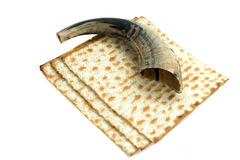 Shofar and matze bread Stock Image